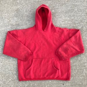 VINTAGE 80s FADED RED SWEATSHIRT HOODIE